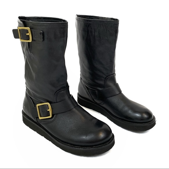 Coach Kenna Black Leather Gold Buckle Boots 6.5